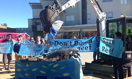 A protest against dredging around the Great Barrier Reef